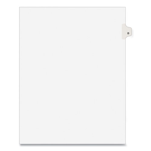 PREPRINTED LEGAL EXHIBIT SIDE TAB INDEX DIVIDERS, AVERY STYLE, 26-TAB, D, 11 X 8.5, WHITE, 25/PACK