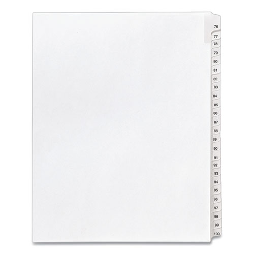 PREPRINTED LEGAL EXHIBIT SIDE TAB INDEX DIVIDERS, ALLSTATE STYLE, 25-TAB, 76 TO 100, 11 X 8.5, WHITE, 1 SET