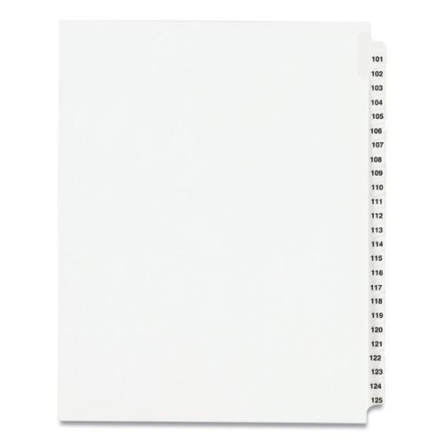 PREPRINTED LEGAL EXHIBIT SIDE TAB INDEX DIVIDERS, AVERY STYLE, 25-TAB, 101 TO 125, 11 X 8.5, WHITE, 1 SET