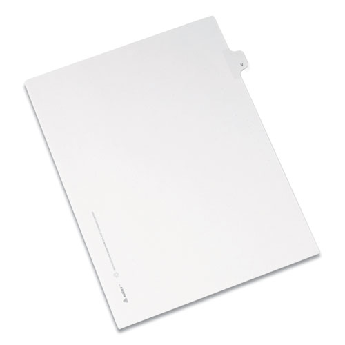 PREPRINTED LEGAL EXHIBIT SIDE TAB INDEX DIVIDERS, ALLSTATE STYLE, 26-TAB, V, 11 X 8.5, WHITE, 25/PACK