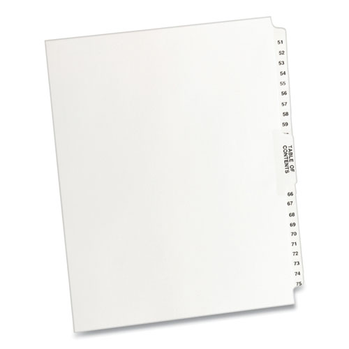 PREPRINTED LEGAL EXHIBIT SIDE TAB INDEX DIVIDERS, AVERY STYLE, 26-TAB, 51 TO 75, 11 X 8.5, WHITE, 1 SET