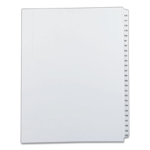 PREPRINTED LEGAL EXHIBIT SIDE TAB INDEX DIVIDERS, ALLSTATE STYLE, 25-TAB, 176 TO 200, 11 X 8.5, WHITE, 1 SET