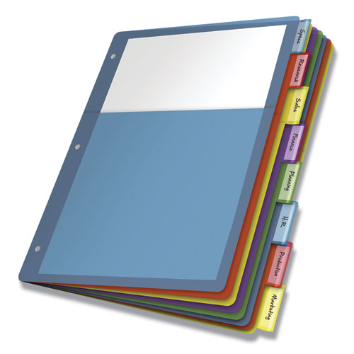 POLY 1-POCKET INDEX DIVIDERS, 8-TAB, 11 X 8.5, ASSORTED, 4 SETS