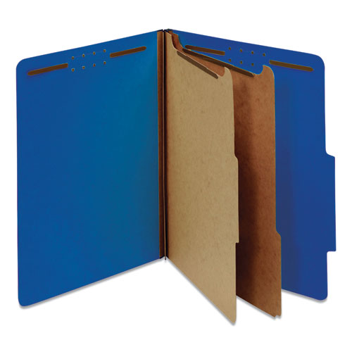 BRIGHT COLORED PRESSBOARD CLASSIFICATION FOLDERS, 2 DIVIDERS, LETTER SIZE, COBALT BLUE COVER, 10/BOX