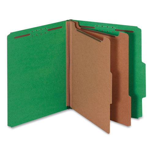 BRIGHT COLORED PRESSBOARD CLASSIFICATION FOLDERS, 2 DIVIDERS, LETTER SIZE, EMERALD GREEN, 10/BOX