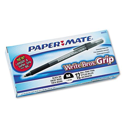 WRITE BROS. GRIP STICK BALLPOINT PEN, 1MM, BLACK INK, SMOKE/BLACK BARREL, DOZEN