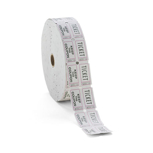 Image for Consecutively Numbered Double Ticket Roll, White, 2000 Tickets/roll
