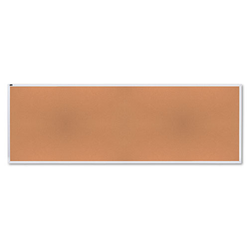 Natural Cork Bulletin Board, 144 X 48, Anodized Aluminum Frame