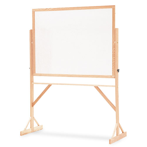 Reversible Marker Board, 72 X 48, White Surface, Oak Frame