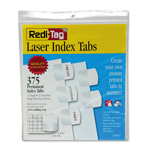LASER PRINTABLE INDEX TABS, 1/5-CUT TABS, WHITE, 1.13
