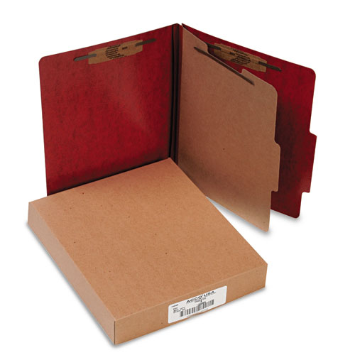 20 PT. PRESSTEX CLASSIFICATION FOLDERS, 1 DIVIDER, LETTER SIZE, RED, 10/BOX