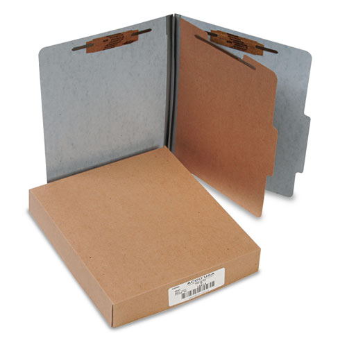 20 PT. PRESSTEX CLASSIFICATION FOLDERS, 1 DIVIDER, LETTER SIZE, GRAY, 10/BOX