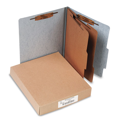 20 PT. PRESSTEX CLASSIFICATION FOLDERS, 2 DIVIDERS, LETTER SIZE, GRAY, 10/BOX