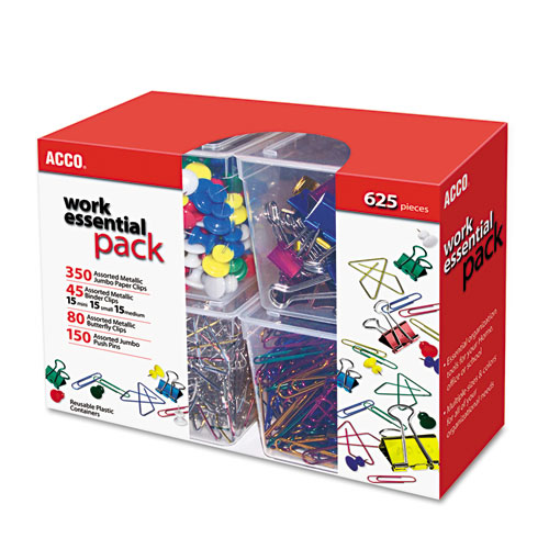 350 PAPER CLIPS, 150 PUSH PINS, 80 BUTTERFLY CLIPS AND 45 BINDER CLIPS, ASSORTED