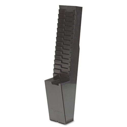 Image for 25-Pocket Expanding Time Card Rack, Plastic, Black
