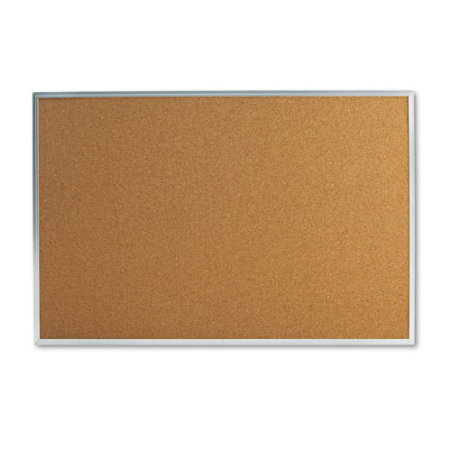 Bulletin Board, Natural Cork, 36 X 24, Satin-Finished Aluminum Frame
