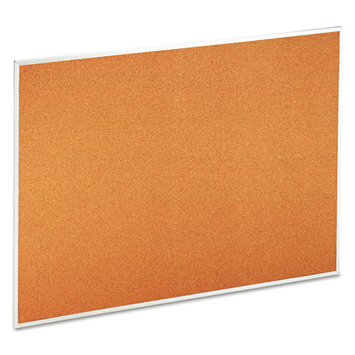 Bulletin Board, Natural Cork, 48 X 36, Satin-Finished Aluminum Frame