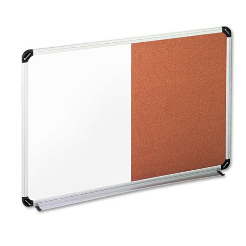 Cork/dry Erase Board, Melamine, 36 X 24, Black/gray, Aluminum/plastic Frame